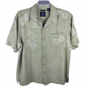 Caribbean Joe Hawaiian Shirt Silk Green Mens 2XL